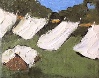 Miniature Impressionist Painting 4x4 Plein Air California Landscape Laundry Wash Day Lynne French