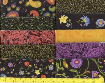 "Midnight Bloom Jelly Roll 40 - 2.5"" Strips Quilting Fabric #b17"