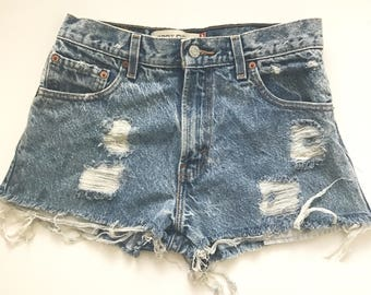 Vintage 90s Levi Denim Ripped and Frayed Shorts 29