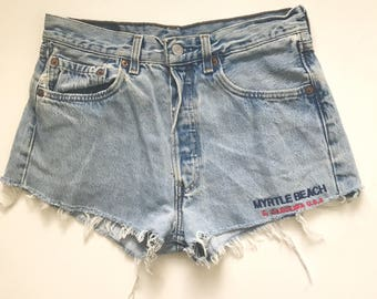 Vintage Myrtle Beach Light High Waisted Levi Denim Shorts 31