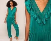 Lingerie Jumpsuit 70s Jumpsuit Pants LACE Lingerie Teal Green Ruffle High Waisted Baggy Onesie Deep V Vintage Pantsuit Large