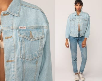 80s Denim Jacket GUESS Jean Jacket Vintage Oversized Grunge Biker Trucker Light Blue Button Up 1980s Hipster Coat Small