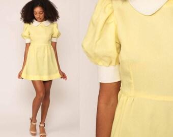 60s Babydoll Dress Mod Mini PETER PAN Collar Puff Sleeve Lolita Dolly 1960s Vintage Empire Waist Pastel Yellow Minidress Small Medium