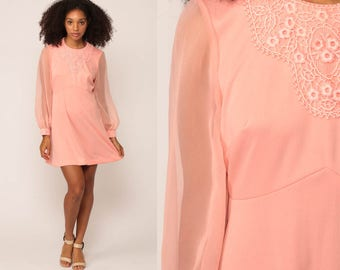 60s Mini Dress Pink LACE Party 1960s Babydoll Mod Dolly Sheer Sleeve 70s Bohemian Vintage Boho MiniDress Hippie Large