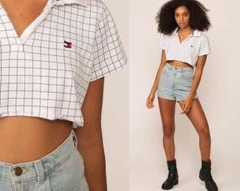 Tommy Hilfiger Shirt Polo Crop Top White Checkered Shirt 90s Top Half Button Up 1990s Short Sleeve Shirt Vintage Medium