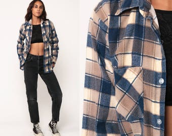 Plaid Shirt 80s Grunge Flannel Button Down Brown Blue 1980s Vintage Long Sleeve Lumberjack Hipster Checkered Retro Small