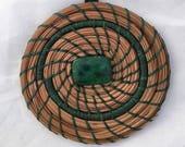 Coiled Pine Needle Ornament with Green Stone Center