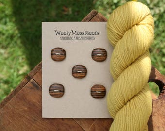 5 Wooden Buttons- Bocote Wood- Wooden Buttons- Eco Craft Supplies, Eco Knitting Supplies, Eco Sewing Supplies
