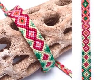 Friendship bracelet - diamond pattern - embroidery floss - woven - knotted - handmade - macrame - pink - green - cotton - string - thread