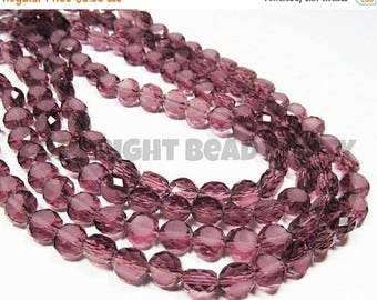 """50% OFF - 5.5"""" Glass STRAND - Glass Beads - 8x5mm Etched Coins - Plum Purple (5.5 inch strand - 20 beads) - str732"""