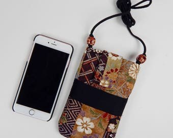 Cross body vintage Kimono silk Cell Phone Purse for iPhone 6,7 Plus or similar sized Smart phones