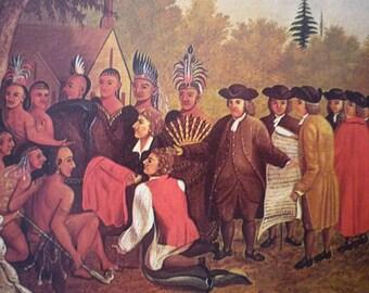 Penn's Treaty with the Indians - Edward Hicks - The Peaceable Season 1847 Folk Art print framable - primitive Americana 1973 book plate