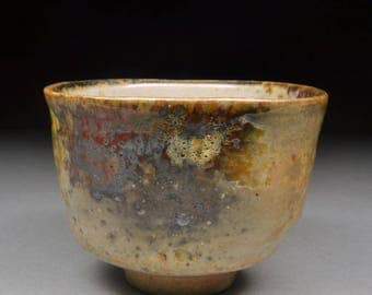 Amazing Handmade Stoneware Yunomi Tea Cup Glazed with Shino, Wood Ash, Copper and Rutile