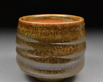 Handmade Stoneware Yunomi Tea Cup glazed with Alberta Slip and Carbon Trap Shino