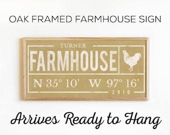 Custom FarmHouse Decor - Rustic Wood Framed Farm House Sign in 6 Color Options