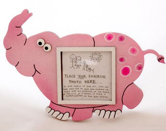 Elephant Picture Frame - Hand Painted Wooden Frame