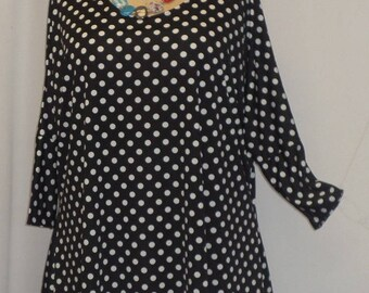 Plus Size Top, Coco and Juan, Lagenlook, Plus Size Tunic, Black White Polka Dot, Print Knit Drape Side Tunic Top One Size Bust  to 60 inches