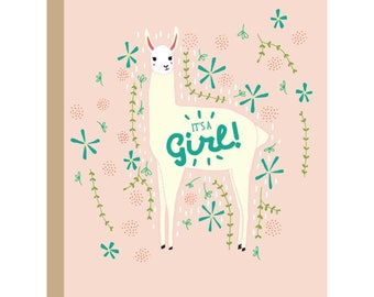 It's A Girl Llama Card