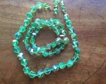 Vintage Green Faceted Glass Necklace & Matching Bracelet