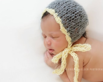 Fine Mohair Newborn Bonnet Girl Photo Prop Hand Knit Coming Baby Boy Hat Cap Going Home Outfit Knitted Infant Photography Grey Yelow Organic