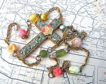 cross assemblage necklace summer floral collage upcycled vintage jewelry cottage chic beads floral