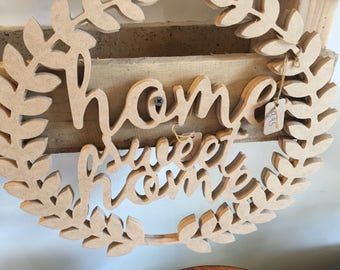 home Sweet Home cut out wood shape