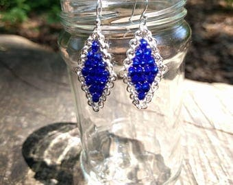 Royal Blue Crystal with Silver Wire