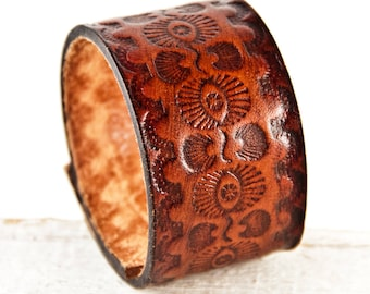 Brown Leather Cuff Bracelet Wristband, Tooled Vintage Belt Cuff, Leather Jewelry For Women