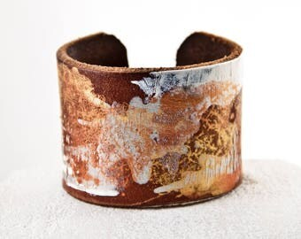 Leather Bracelets For Women,  Leather Jewelry, Leather Cuff Bracelets Wristband Stocking Stuffers