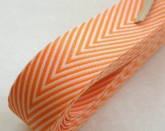 25% Off Summer Sale Chevron Twill Herringbone Ribbon - Orange and White 3/4 Inch Width - Packaging and Gift Ribbon