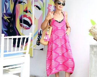 BATIK, Slip Dress, Summer Dress, Coverup, Beach Dress, Island Style, Bohemian, Choice of Hand Printed Fabric, 7 Sizes