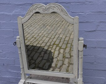 Lovely carved vintage dressing table mirror hand painted in chippy miss mustard seed milk paint Farmhouse White