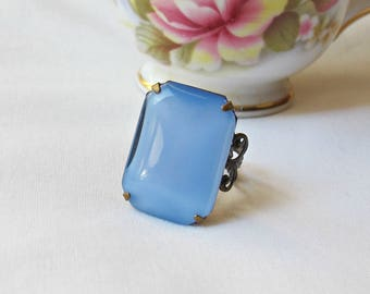 Moonstone Blue Cocktail Ring Estate Style Octagon Vintage. Glass Stone Statement Jewellery Jewelry. Two Cheeky Monkeys Handmade Filigree