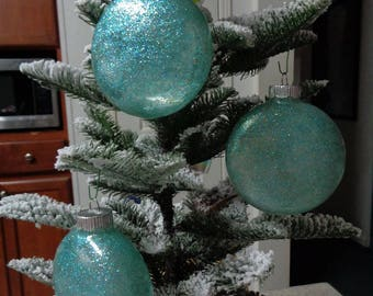 Set of 3 Large Teal Glass Orbs Christmas Tree Ornaments
