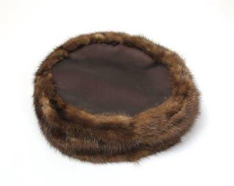"ON SALE Mink Satin Pillbox Hat Sz 22"" L Vintage 50s Brown Real Fur Desinger Nan Cie Free Us Shipping"
