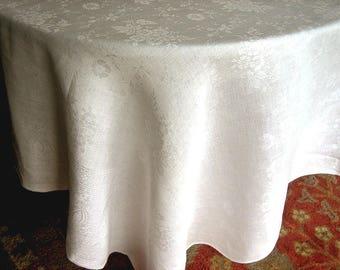 DAMASK Tablecloth Vintage Bone WHITE Slick Linen Daisies Great Hem Design