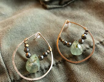 Hoop post 'glass half full' earrings, gild fill, bronze nuggets, pyrite nuggets, green  rutilated quartz drops