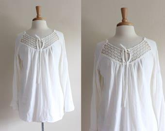 Vintage Long Sleeve White Crochet Lace Boho Top