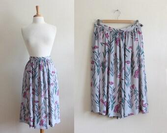 Vintage Campus Casuals Purple & Grey Midi Skirt