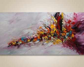 Palette Knife Abstract Painting Original Abstract Acrylic On Canvas Red Yellow Black Catalin Fine Art Contemporary Art Large Abstract 48x24