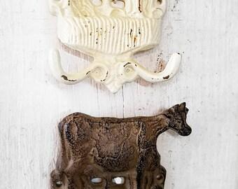 SHOP HOP ITEM Cast iron Cow Hook
