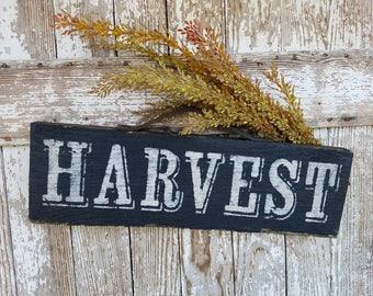 Handmade Old BARNWOOD HARVEST SIGN black and white