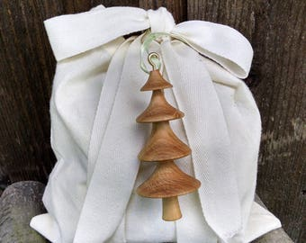 Wooden Ornament - Hand Turned Wood Tree Ornament - Wooden Tree Ornament