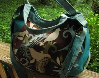 "Vegan, Eco-Friendly shoulder bag, Bird Purse, Bird Tote, adjustable 60"" strap, 3 Open Pockets, zipper Pocket, Back Pocket, keychain"