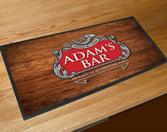 Personalised red and silver beer label bar sign runner pubs clubs & cocktail bars **Any Name**