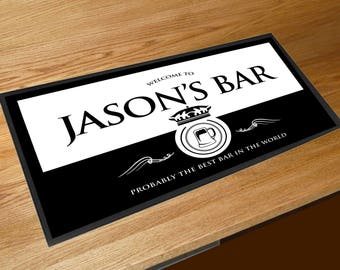 Personalised Black and White beer Wine label bar sign runner pubs clubs & cocktail bars **Any Name**