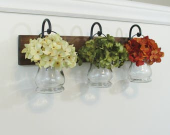 Rustic Wood Shelf...Farmhouse Wall Decor...3 Hanging Clear Jars on Stained Boards..Flower Pots