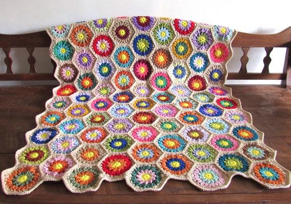 Made to Order. crochet sunburst flowers blanket / afghan / throw granny squares