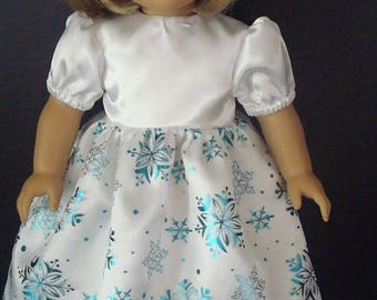 "ON SALE 18 inch Doll Clothes,Fits 18"" American Girl Doll,READY To Ship, Fancy Dress, White Satin, Sparkle, Party, Snowflake, Blue Dress,"