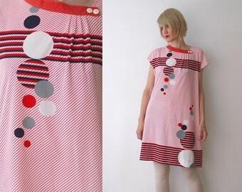 70s psychedelic print dress. geometric circle print dress. summer tent dress - large